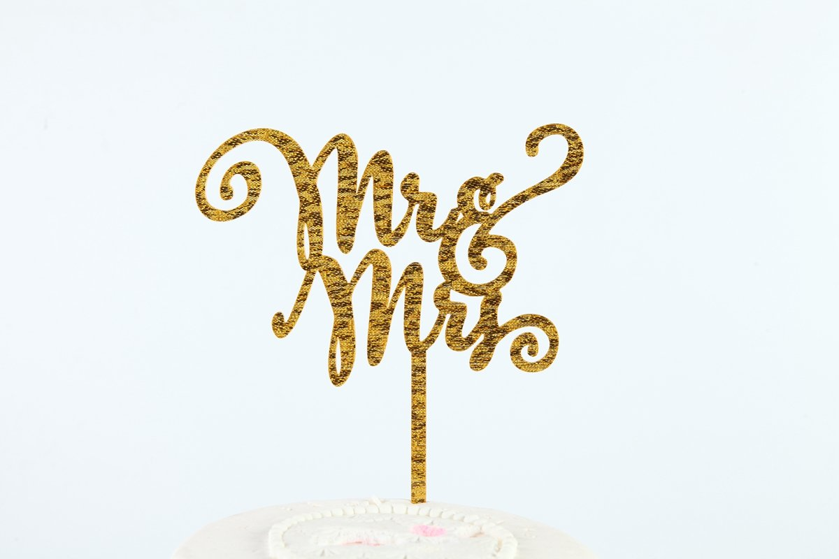 Sugar and Cakes Cake Topper g/âteau Cupcake D/écoration Mr /& Mrs g/âteau de mariage Fiche Muffin Fondant D/écoration Acrylique Or CT5