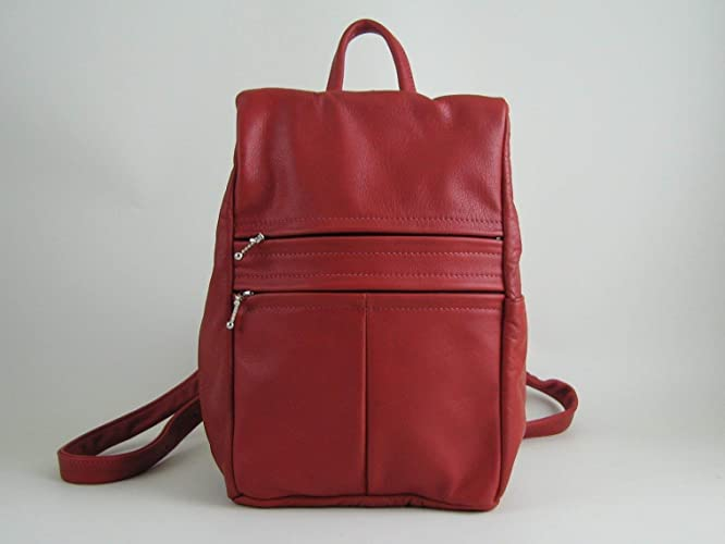 f417845ed11 Amazon.com: Red Leather Backpack Purse-lightweight and ergonomic design:  Handmade