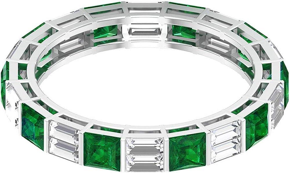 Anillo de eternidad de esmeralda certificado SGL de 1,3 quilates, anillo de boda con forma de baguette de 1 ct, 10K Oro
