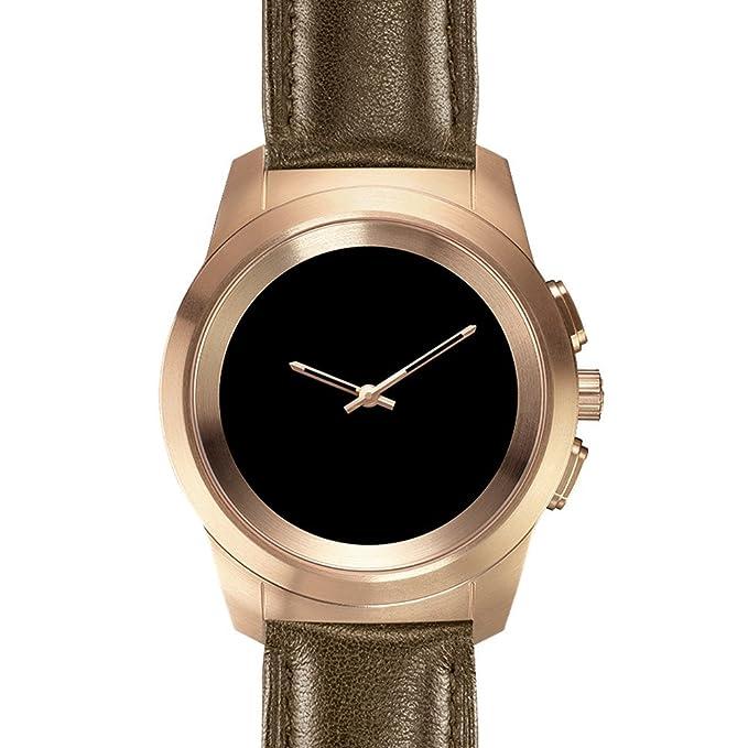 MyKronoz ZeTime Premium Reloj Inteligente híbrido 44mm con Agujas mecánicas sobre una Pantalla a Color táctil – Regular Cepillado Oro Rosa/Cuero ...