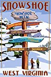 Snowshoe, West Virginia - Destination Signpost (12x18 Collectible Art Print, Wall Decor Travel Poster)