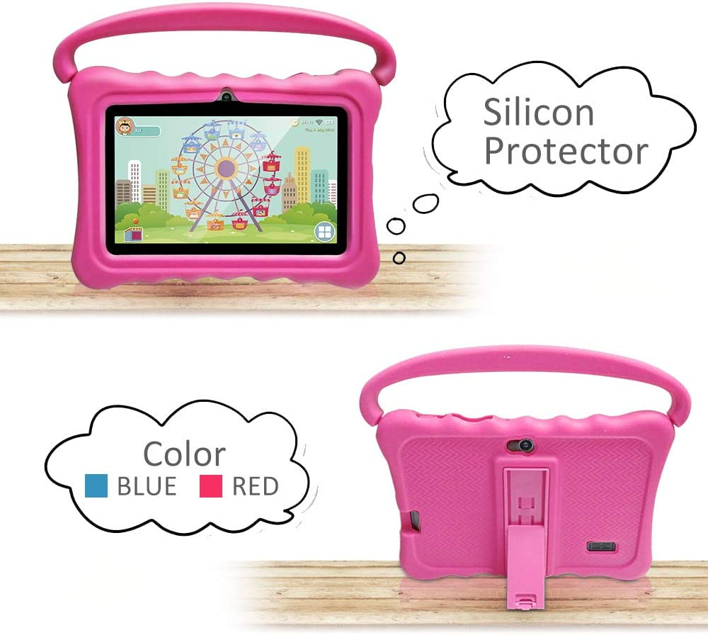 UJoyFeel Tablet Case for Kids 7 Inch Kids Tablet Cases for Shock Proof Protective with Portable Convertible Handle Light Weight (Rose red)