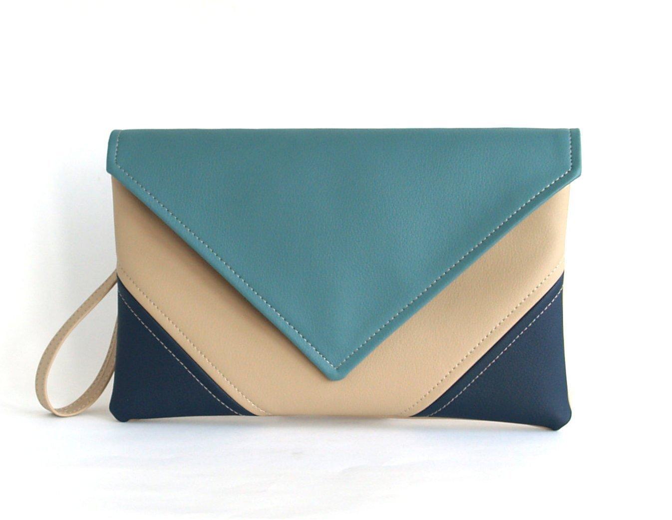 Clutch Bag envelope Hanmade Blue Navy Beige Purse Vegan Eco Faux leather Handbag Strap Evening Bag wedding bridesmaid