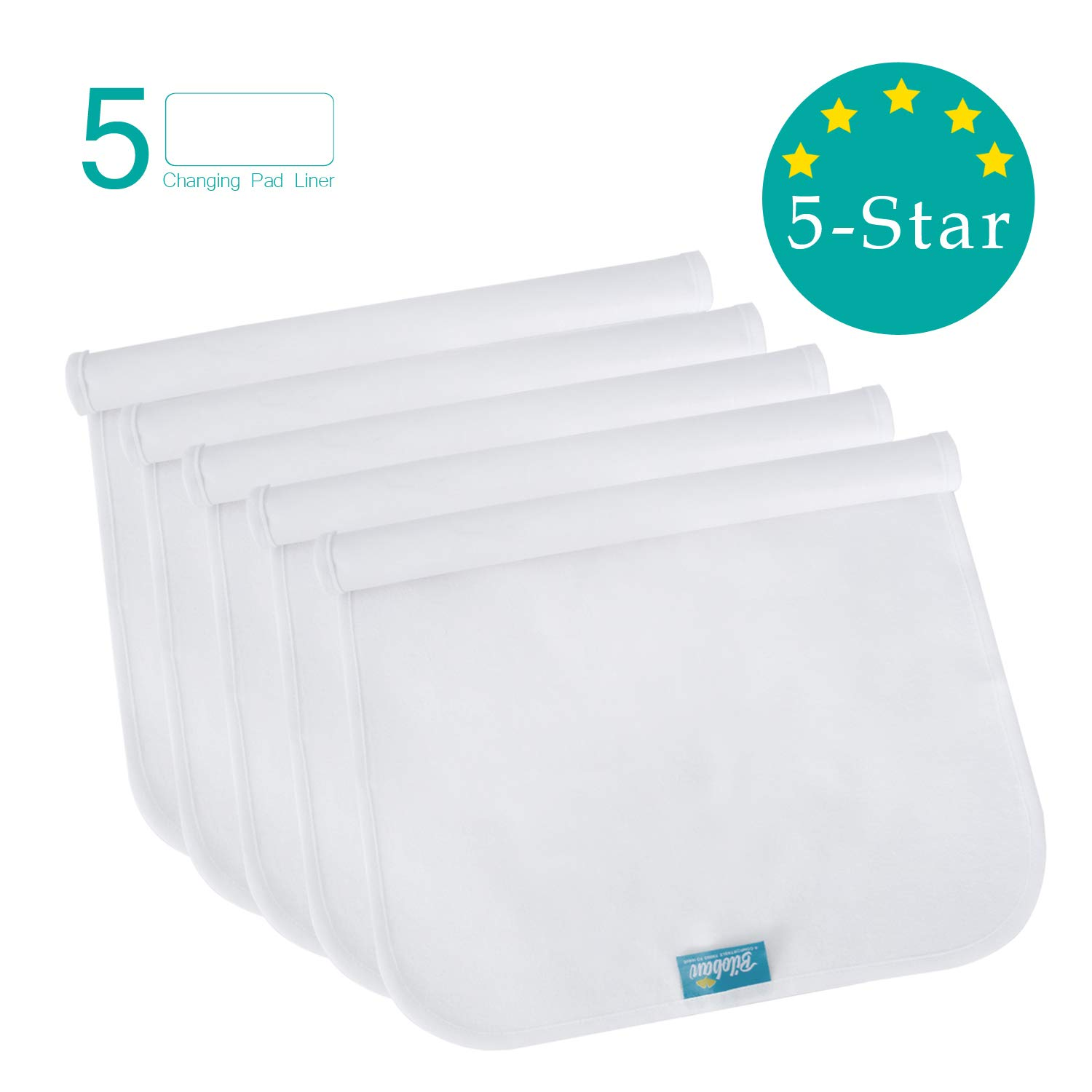 Changing Pad Liners Waterproof Washable (5 Count), Flannel Portable & Durable Extra Large 27'' X 14'' Travel Bassinet Waterproof Pad Liners, White by Biloban