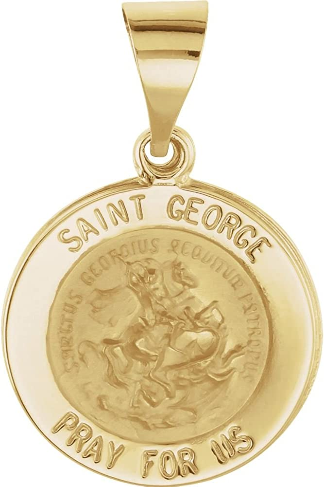 14K Yellow Gold 18.25mm Round Hollow Miraculous Medal