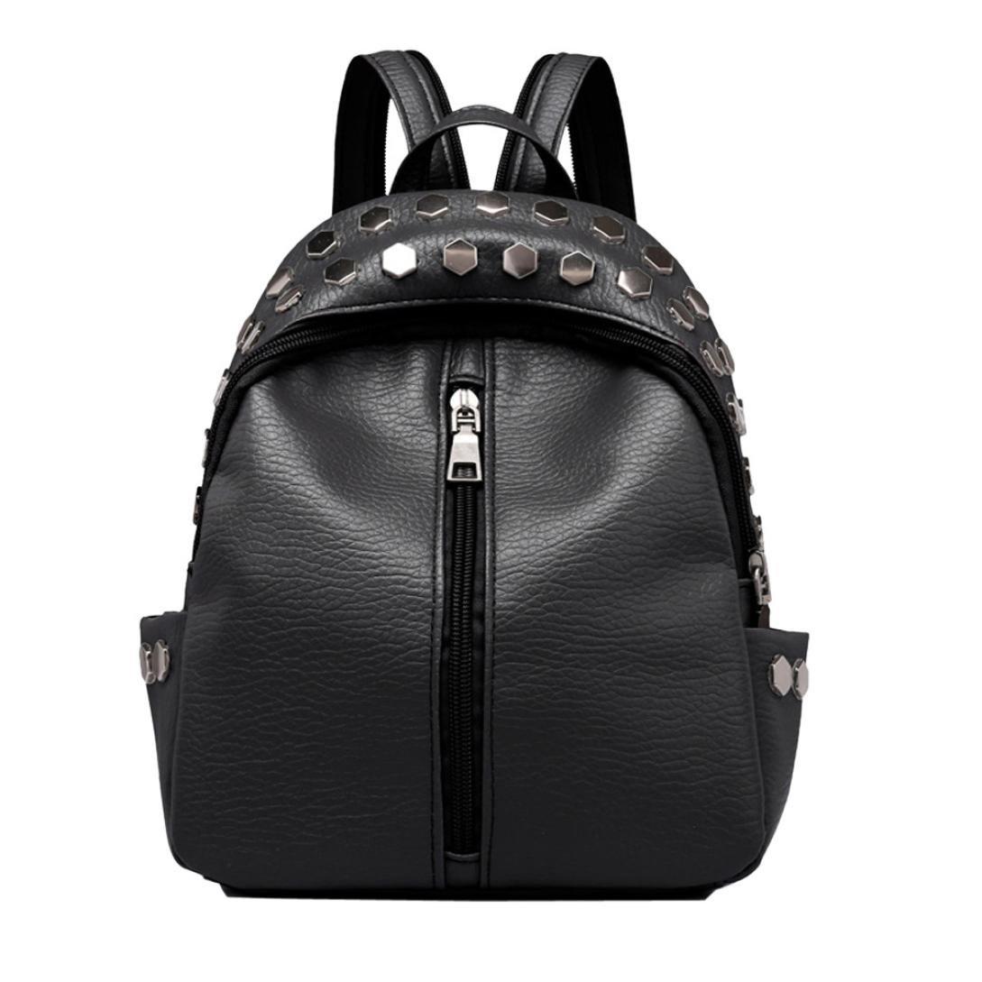 Inkach Womens Backpack Purse ❤️ Vintage Mini Rivets Leather School Bags Rucksack (Black)