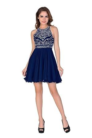 Miss Chics Women Chiffon Backless Short Beaded Prom Dress Homecoming Dress(4,Royal Blue