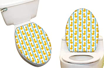 Pleasant Amazon Com Toilet Seat Sticker Yellow Duckies With Blue Gamerscity Chair Design For Home Gamerscityorg