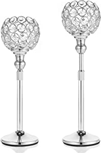 DUOBEIER Home Decor Crystal Candle Holders Set 2 for Living Room & Bathroom Decor, Decorative Candle Holder Centerpieces for Dining Room Table & Coffee Table Decor[Silver, 13-18 inches]