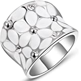Fashion Month Womens Elegant Enamel Flower White Gold Band Bloom Petal Platinum Wedding Engagement Ring Crystal Inlay