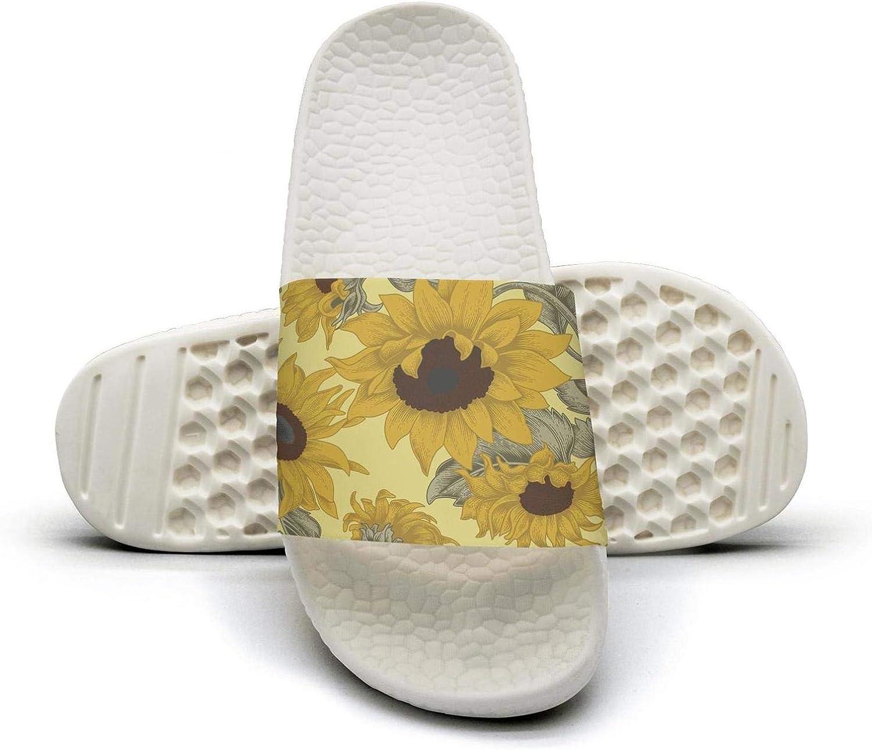 Man Slipper Sunflowers Vintage Style Leaf Casual Lightweight Open Toe Flat Interior Sandals