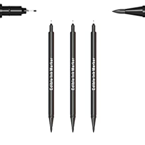 3pcs Black Food Coloring Markers, Double Sided with Ultra Fine Tip(0.5mm) Edible Pen, Food Grade Gourmet Writer for Decorating,Painting,Drawing, Baking,Fondant,Cake,Cookie,Frosting by Edibleink