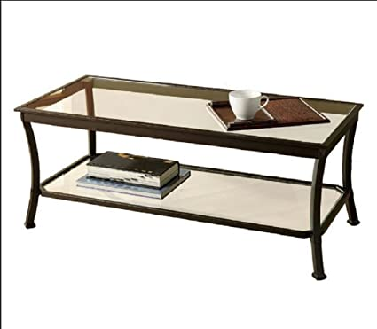 Mendocino Coffee Table Metal Glass Top Living Room Accent Furniture Storage  Black (1)