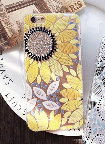 (iPhone 8 Case/iPhone 7 Case(4.7inch),Blingy's Flower Series Transparent Clear Soft Rubber TPU Protective Case for iPhone 8/iPhone 7 (New Painted Sunflower) )