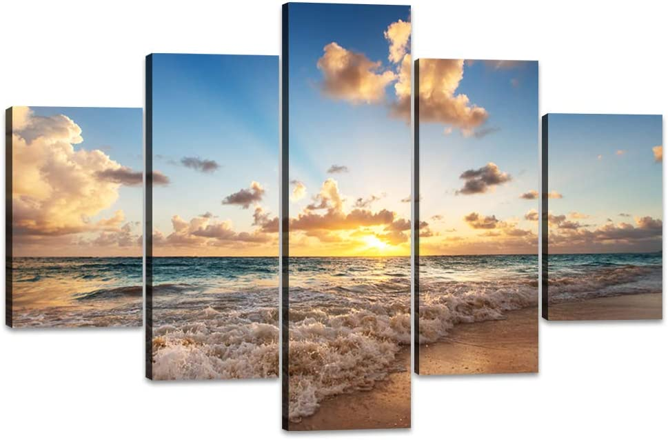 SUNSET TROPICAL BEACH LANDSCAPE CANVAS PICTURE PRINT WALL ART FREE FAST DELIVERY