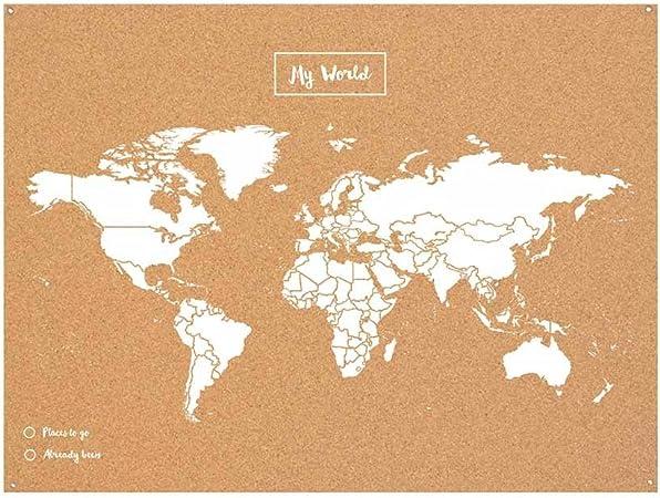 Miss Wood Map L, Mapa del Mundo de Corcho, 45 x 60 cm, Natural/ Blanco: Amazon.es: Hogar