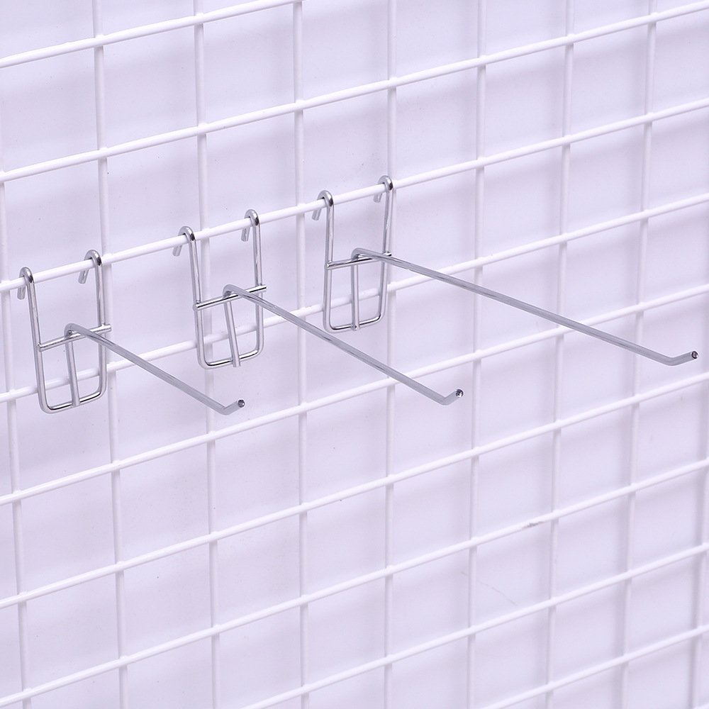Stainless Steel Grid Wall Bracket Peg Board Display Hook for Panel for Supermarket 10 PC