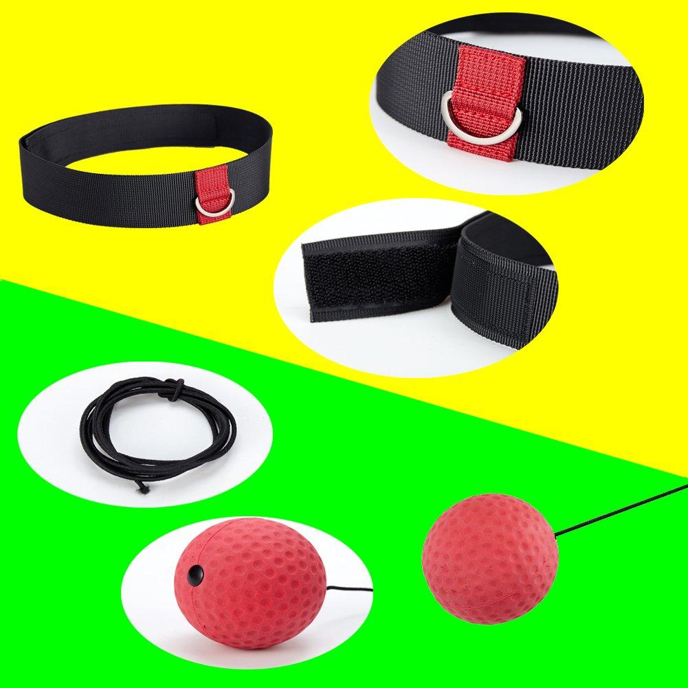 WIWI punzonado de precisi/ón reflectante coordinaci/ón de ojos Pelota de boxeo de dos velocidades para entrenamiento de mano con diadema ajustable