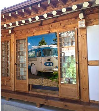 Cortina de cenefa de puerta Una vieja camioneta clásica Cocina Cortinas de cenefa de ventana Cortina de puerta de Japón Tipo largo para la decoración de la puerta de la cocina del
