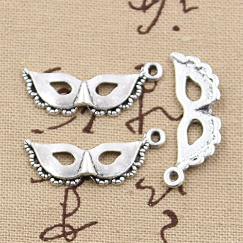 (30pcs Charms Party mask Masquerade Mardi gras 31x12mm Antique Making Vintage Tibetan Silver Zinc Alloy)