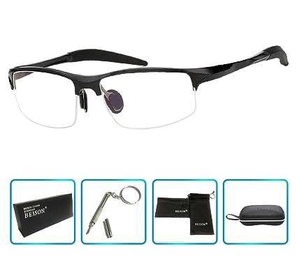 7346b5a4aef Beison Sports Optical Eyeglasses Frame Plain Glasses Clear Lens Rx (Black