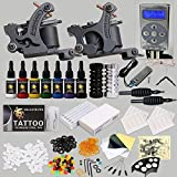 Professional Complete Tattoo Kit 2 Top Machine Gun 7 Color Ink Needle Power Supply