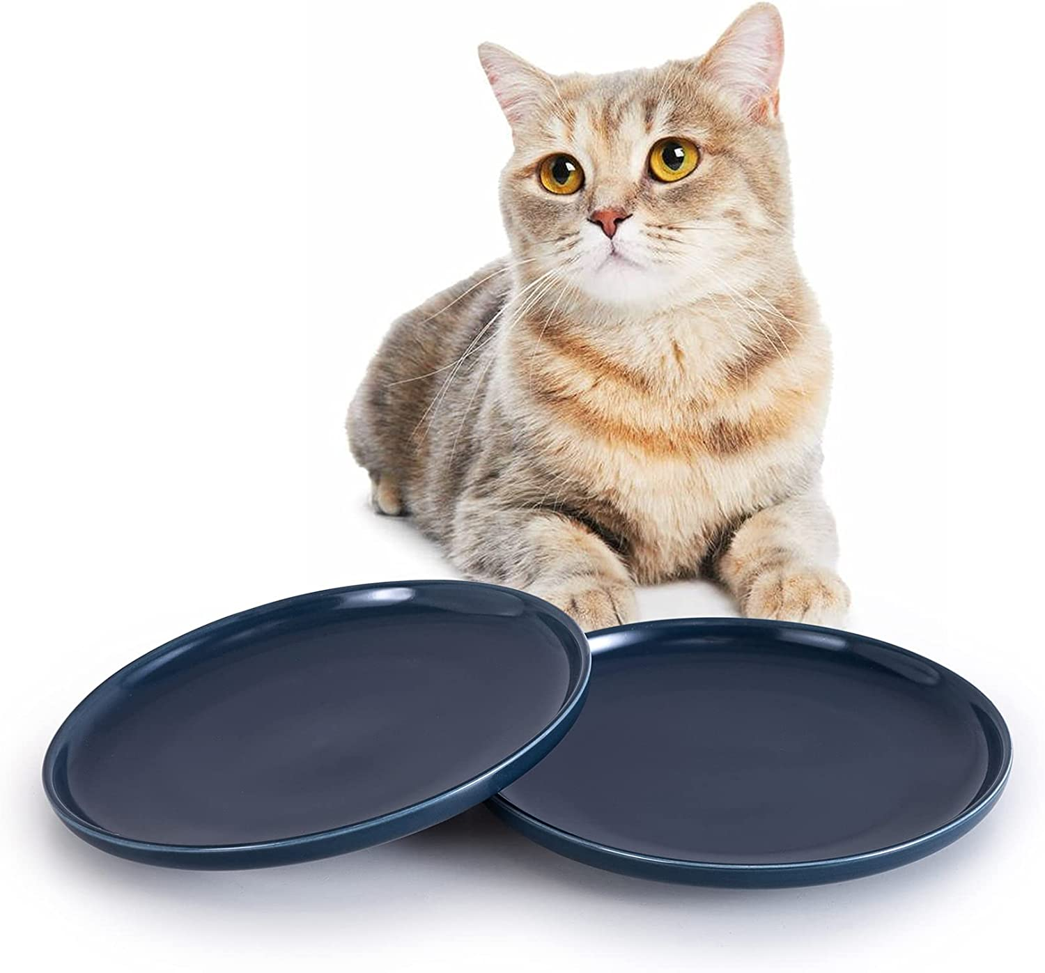 SIDUCAL Ceramic Shallow Cat Dish,8 Inch High-Capacity Non Slip Wide Cat Food Bowls,Whisker Fatigue Free Cat Food Dish,Cute Pet Plate for Cat,Dishwasher Safe(Sea Blue-2 Packs)
