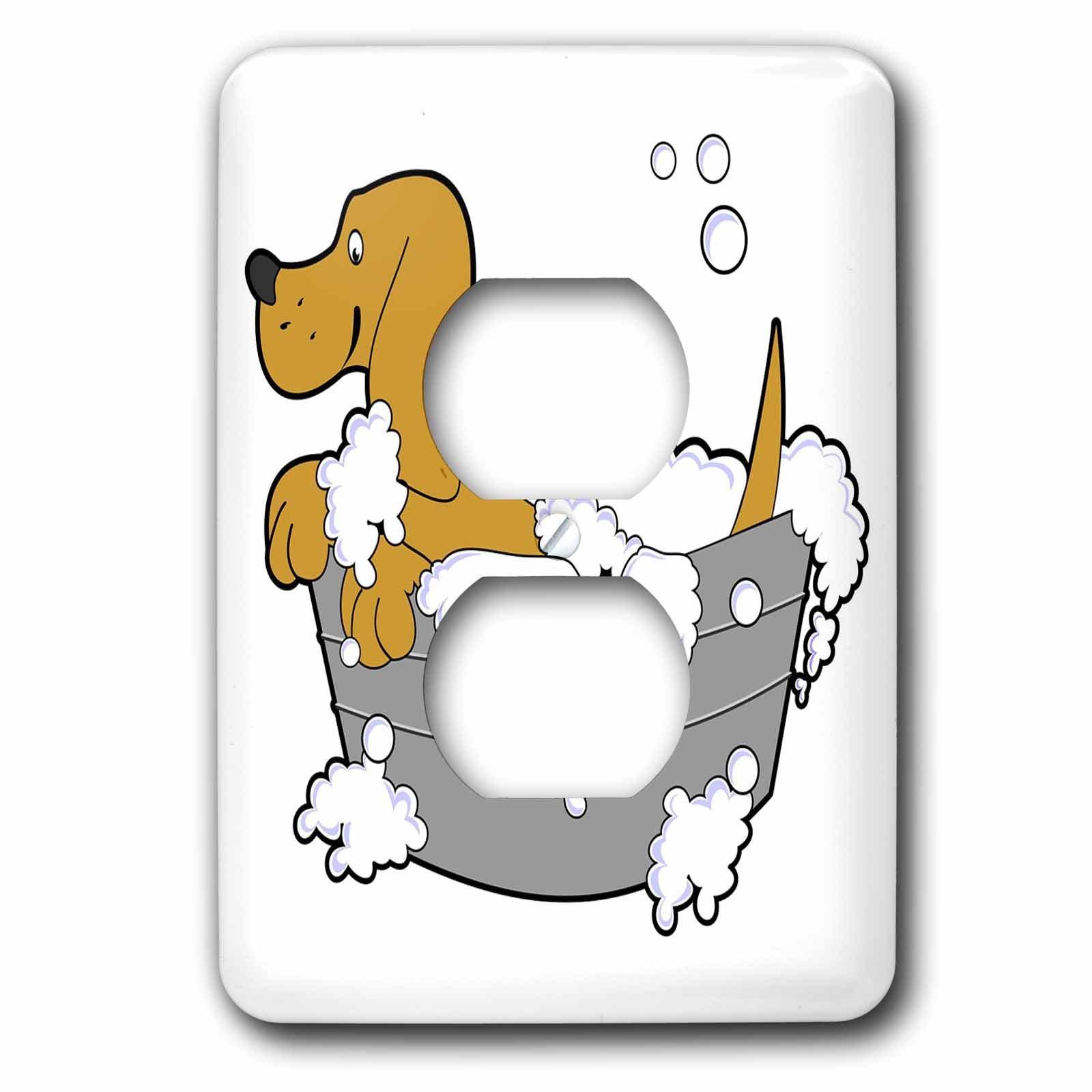 3D Rose lsp_251958_6 Doggy in Bathtub. Bubbles. Kids Décor. Cute Image. 2 Plug Outlet Cover