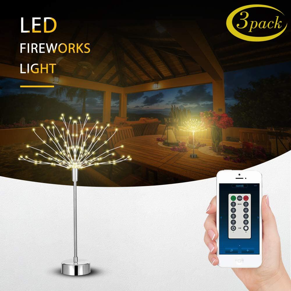 efecto de luz para interior jard/ín terraza Feuerwerk fiesta 1 unidad boda 120 luces LED con mando a distancia a pilas multicolor 8 modos Navidad