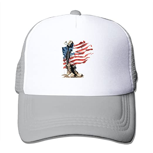 efa27ac8368 Amazon.com  Fdreattyuny USA Flag Soliders Belief Fashion Baseball Cap for  Men and Women Adjustable Mesh Trucker Hat  Clothing