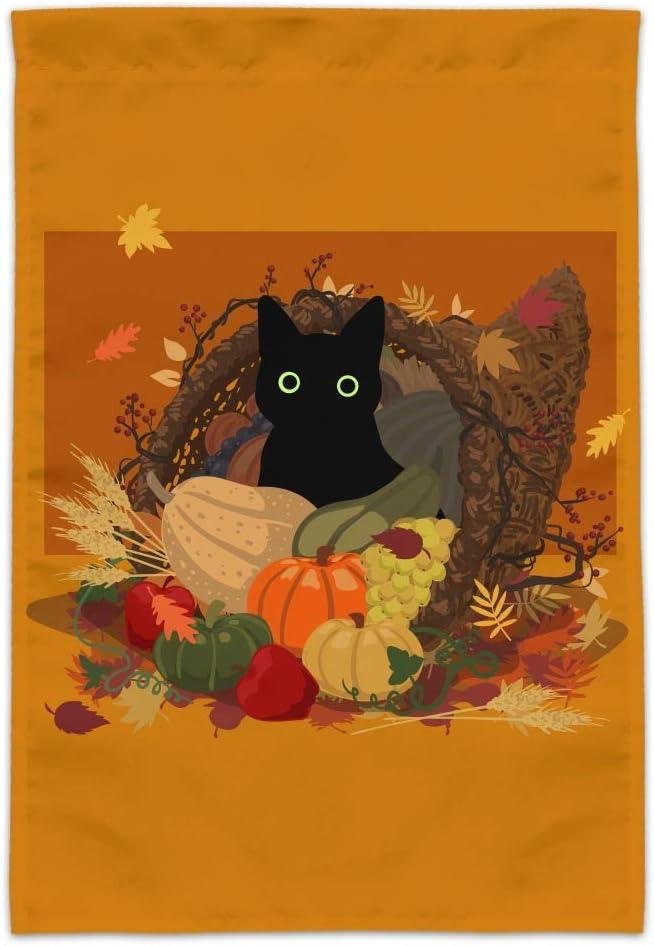 GRAPHICS & MORE Thanksgiving Black Cat Hiding in Cornucopia with Pumpkins Garden Yard Flag
