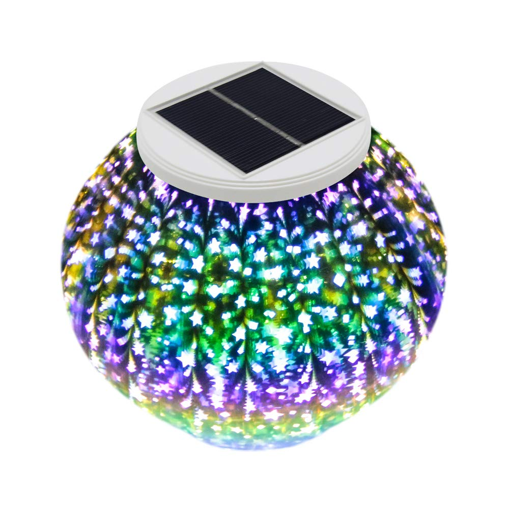 Hallomall Solar Table Lights, Color Changing Solar Powered Glass Ball Led Garden Lights, Outdoor Waterproof Solar Night Lights for Decorations, Ideal Gifts