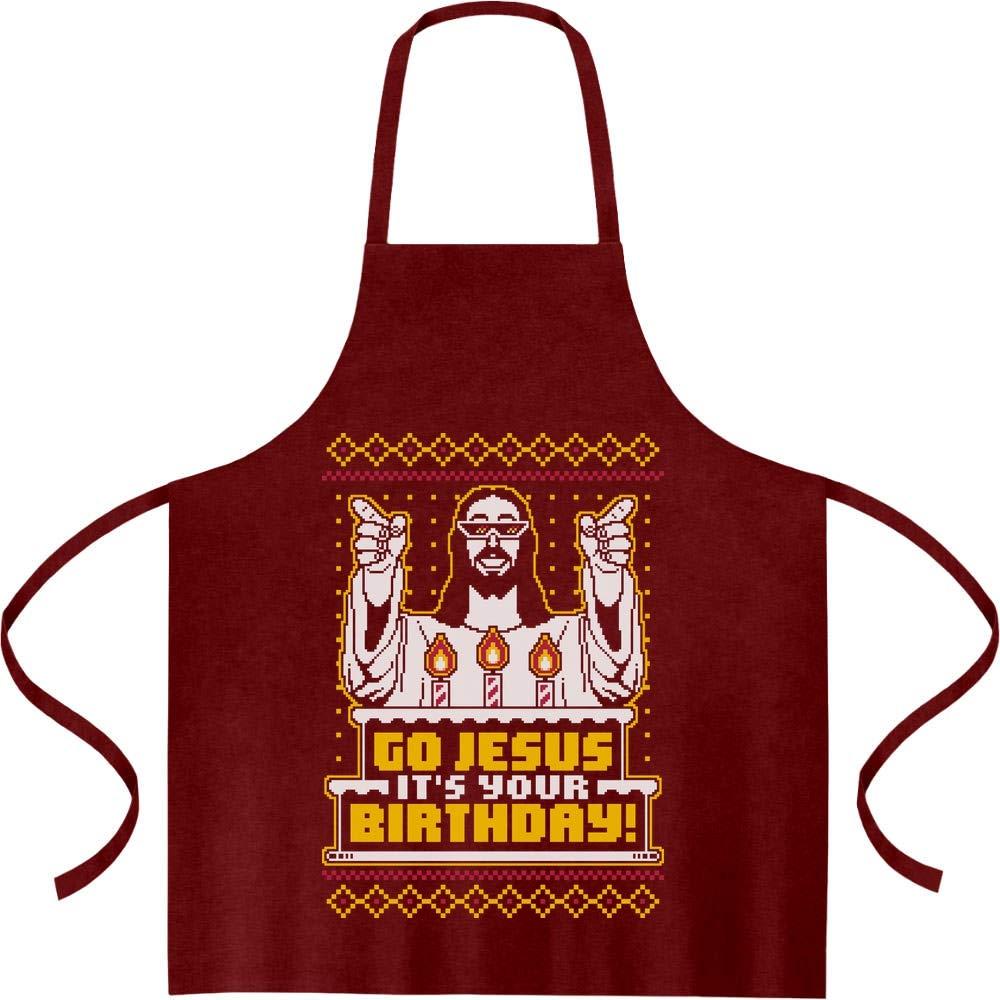 Shirtgeil Motivo Natalizio Go Jesus Its Your Birthday Grembiule da Cucina One Size Bordeaux