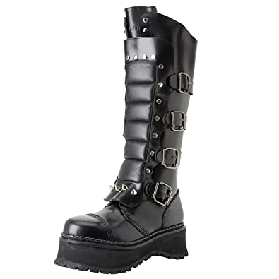 413b1ded1d8 Mens Black Leather Gothic Boots Knee High Warrior Boots Steel Toe MENS  SIZING Size  4
