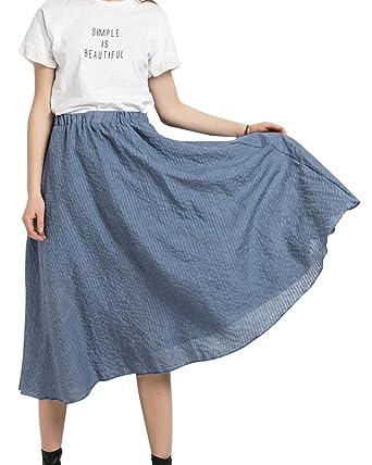 ShiFan Ropa Casual De Mujer Midi Falda De Cintura Alta Faldas Azul ...