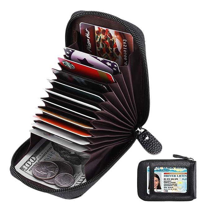 Amazon.com: Zipper - Cartera para tarjetas de crédito, RFID ...