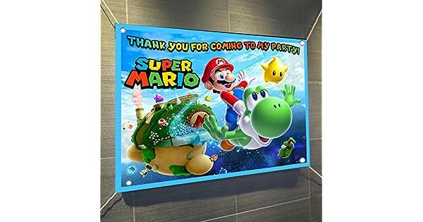 Amazon.com: Super Mario Bros Banner Video Game Póster de ...