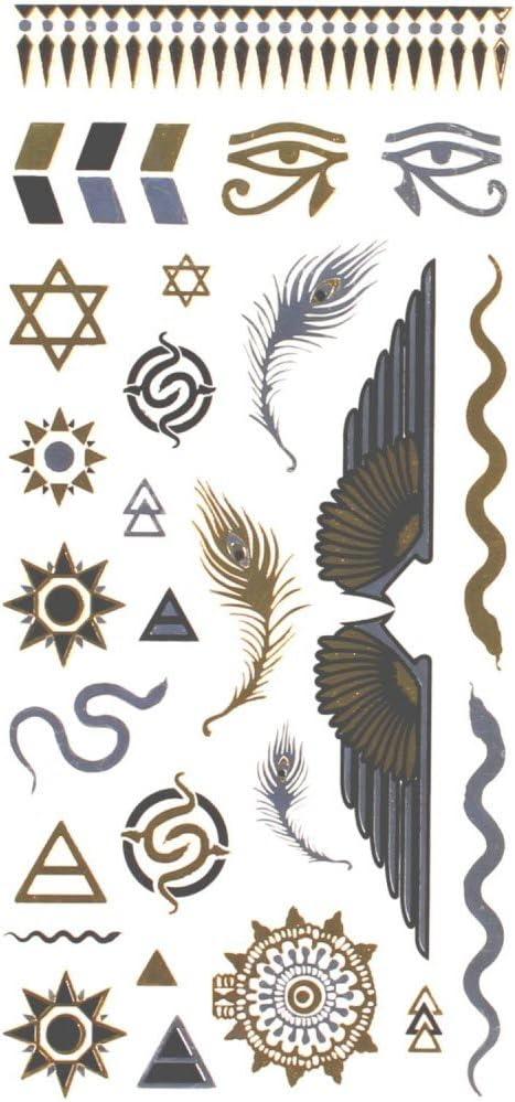 Tatuajes ephémères color Metal pluma Egipto (Etoile Bijoux de piel ...