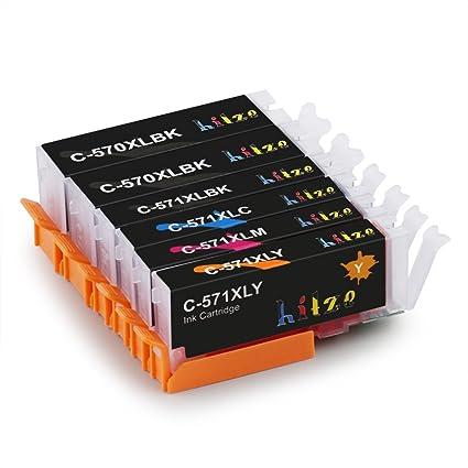 HITZE PGI 570XL CLI 571XL Alta Capacidad Cartucho de Tinta 6 ...
