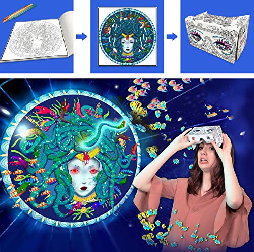 (Adult Coloring Books 3D IF Interactive Imagine Atlantis VR Goggles Included Virtual Reality Color Art Grownups Stress Relief Coloring Pages for Adults Relaxation Imagine VR)