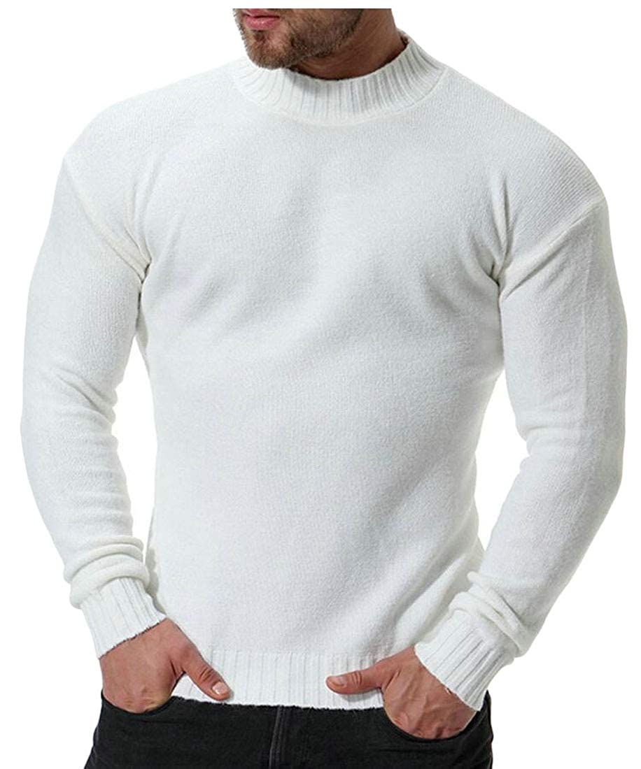 Generic Mens Casual Stand Collar Solid Knitting Slim Fit Knitwear Pullover Sweaters