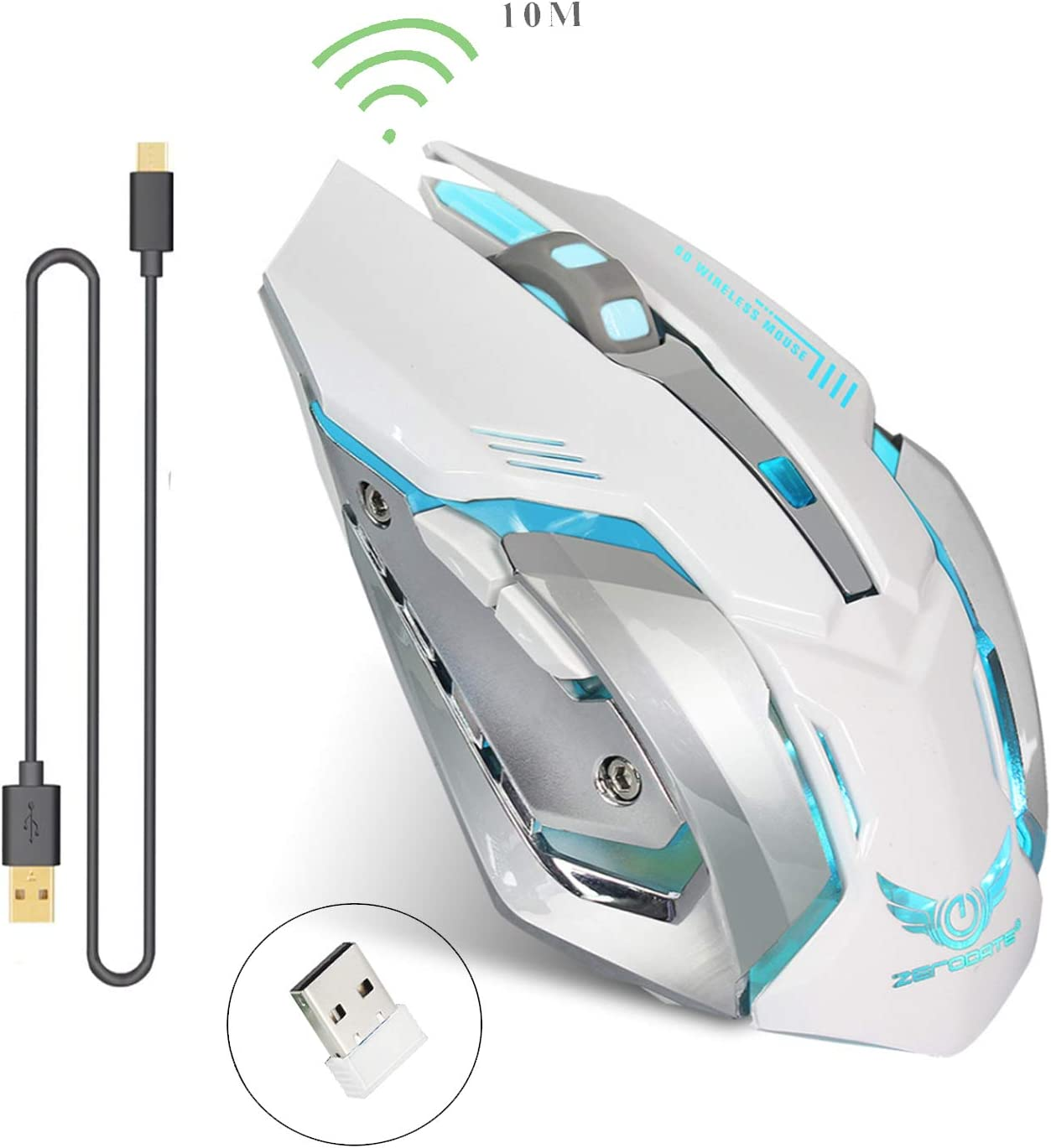 Rechargeable 2.4Ghz Wireless Gaming Mouse with USB Receiver,7 Colors Backlit for MacBook, Computer PC, Laptop (600Mah Lithium Battery) (White)