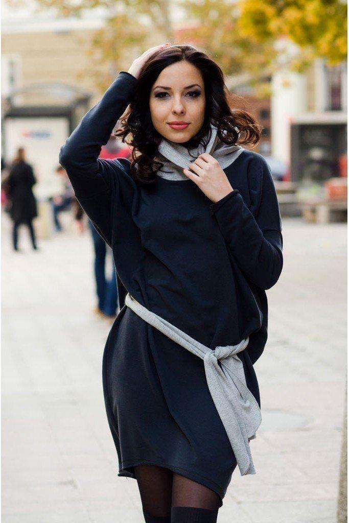 Abiti da donna a maniche lunghe, color grafite, 100% cotone, taglie M / L