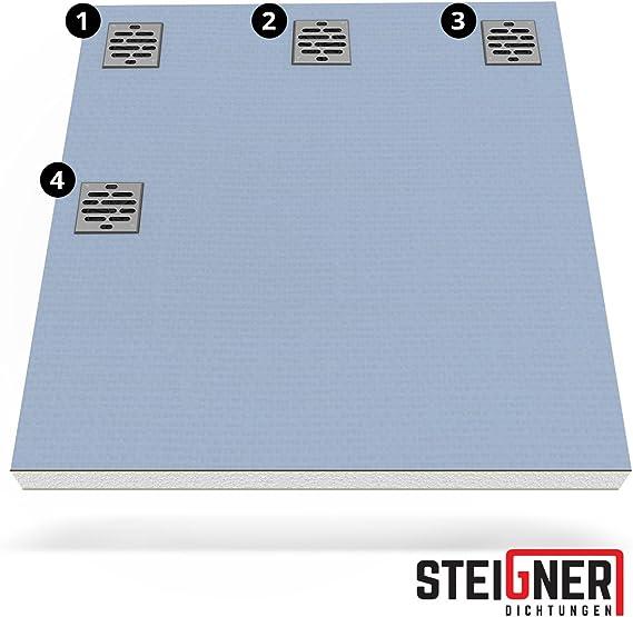 STEIGNER Receveur de Douche Mineral Plus Drain D/écentralis/é Position 3 Drain Vertical Plaque en EPS 90x120 cm