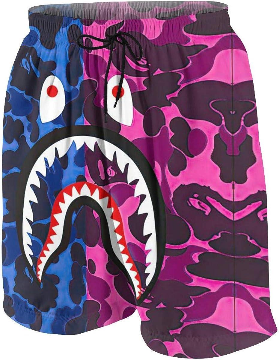 Cool Bape Blood Shark Teenager Boys Beachwear Beach Shorts Pants Board Shorts Leisure Quick Dry Swim Trunks