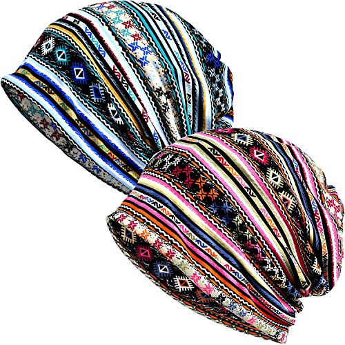 (Ababalaya Women's Kinds of Lace/Floral/Print/Cotton Chemo Cap Hair Loss Beanie Nightcap Pack,Cotton Print-2 Pieces)