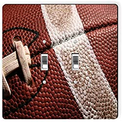 Rikki Knight 1743 Double Toggle American Football Close-Up Design Light Switch Plate