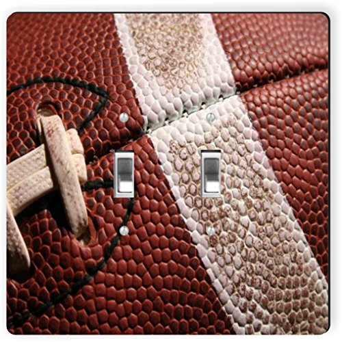 Rikki Knight 1743 Double Toggle American Football Close-Up Design Light Switch Plate by Rikki Knight