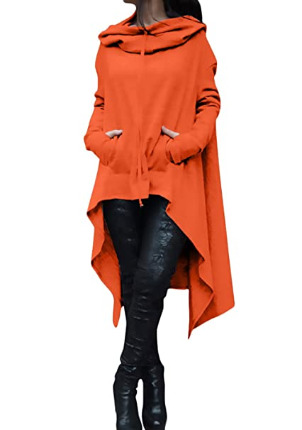 Felpe Mujer Elegantes Anchas Casual Unicolor Sudaderas con Capucha Manga Niñas Ropa Larga con Bolsillos Irregular Asimetricos Vintage Fashion Sudadera con ...