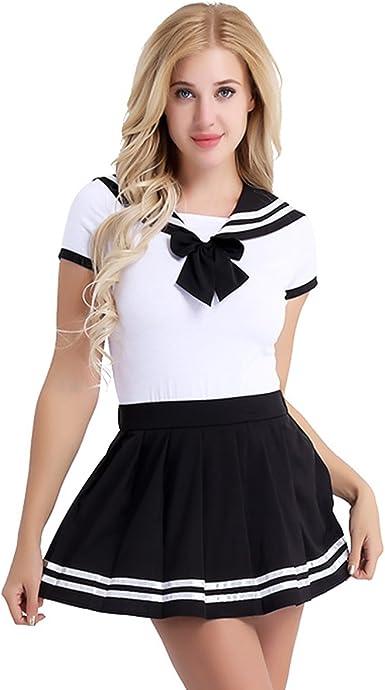 iiniim Sexy Disfraz Escolar Mujer Lencería Ropa Erótica Conjunto Colegiala Estudiante Camisa Corta + Mini Falda Plisada Cosplay Picardias Escolar Uniforme: Amazon.es: Ropa y accesorios